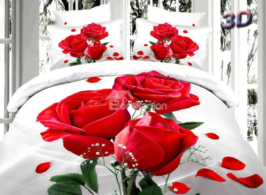 Romantic Red Roses Print 4-Piece 100%Cotton Duvet Cover Sets