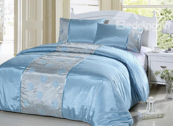 Applique Embroidery Designs 3-Piece Silky Duvet Cover Sets