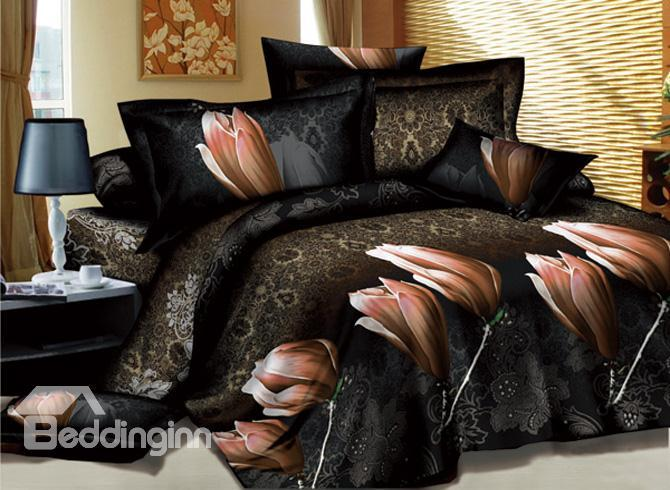 Mysterious Patterns With Champagne Flowers Printed 4 Piece Queen Bedding Sets 10489477)