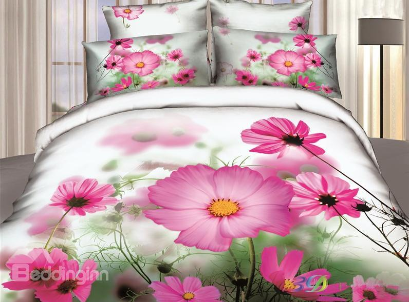 Cute Pink Cosmos Print 4 Piece Bedding Sets