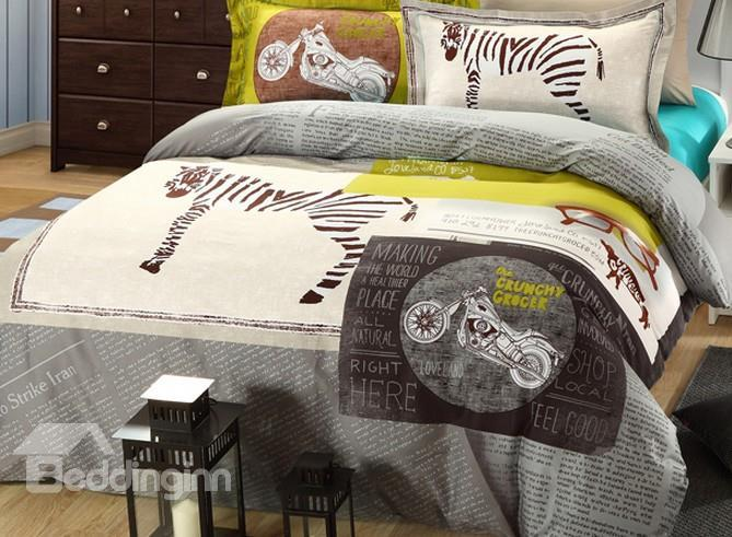 New Zebra And Motorcycle Print 4-Piece Duvet Cover Sets