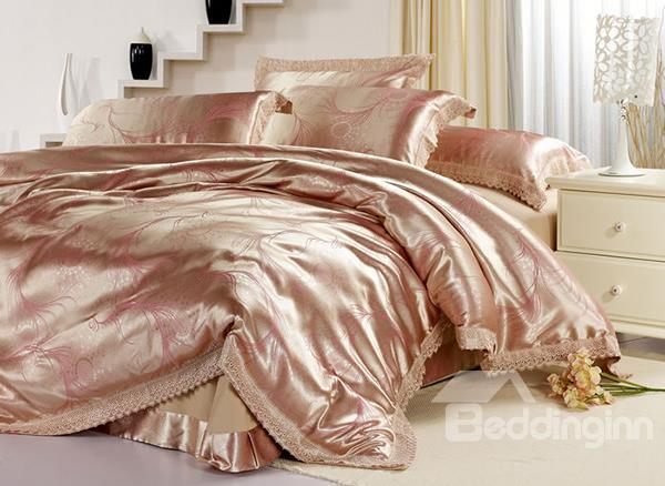 Graceful Curve Pattern 4-Piece Tencel Duvet Cover Sets