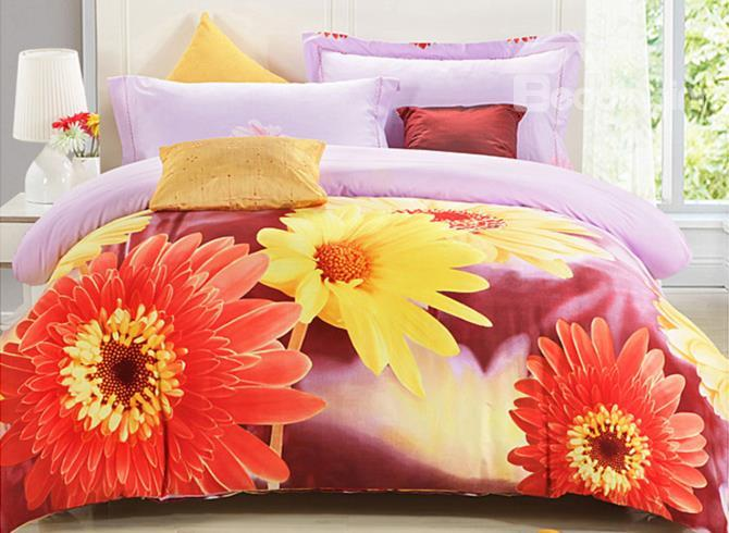 Brilliant Color Sunflowers Print 4 Piece 3d Duvet Cover Sets
