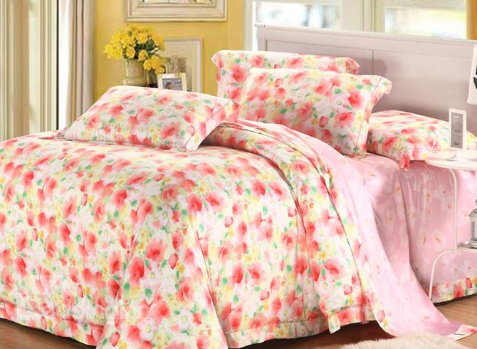 High Quality European Style Beautiful Floral Patterns 4 Pieces Tencel Bedding Sets