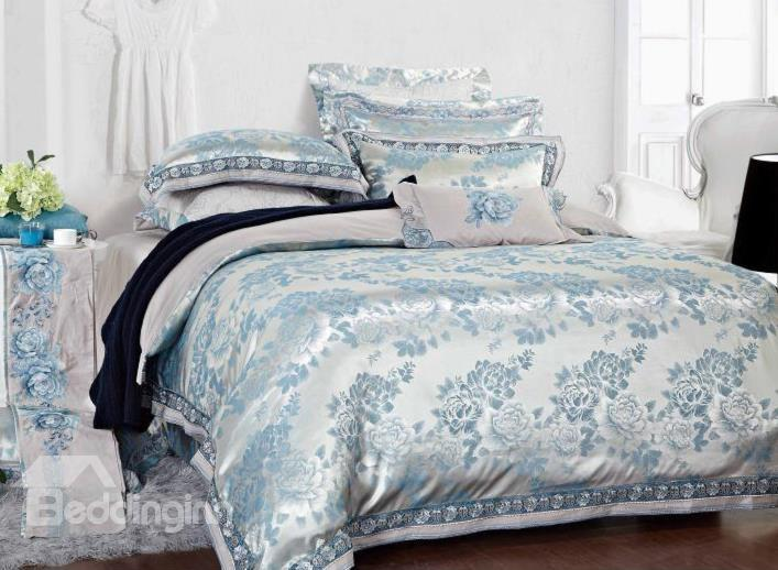 Elegant Sky Blue Flower Jacquard 4-Piece Cotton Duvet Cover Sets