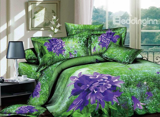 Smashing Wonderful Purple Flowers And Green Grass 4 Piece Cotton Bedding Sets With Printing 10486359)