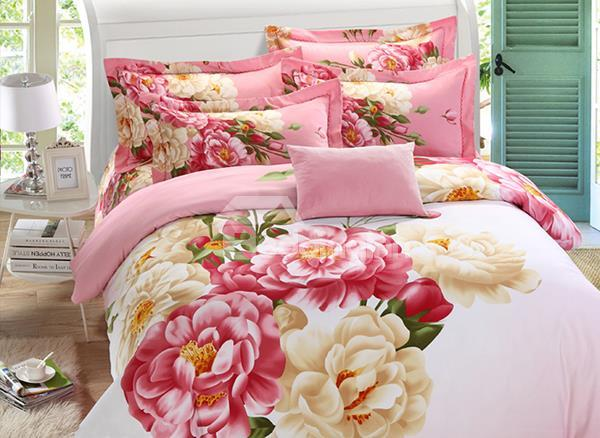 Pink Flowers World Printed 4 Piece Girls Duvet Cover Bedding Sets