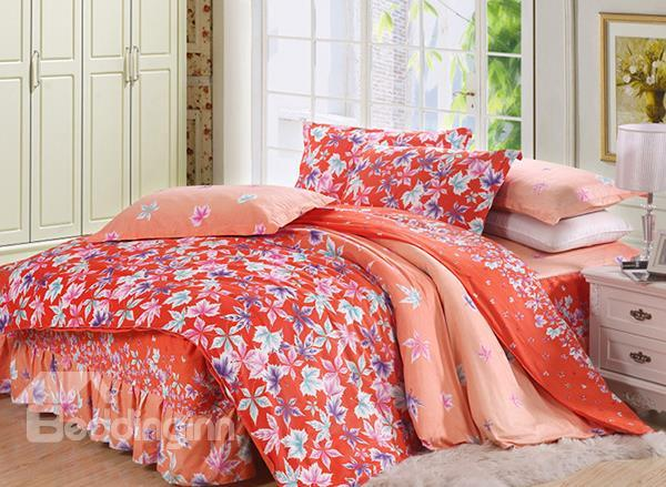 Maple Leaves Print 4-Piece Cotton Duvet Cover Sets