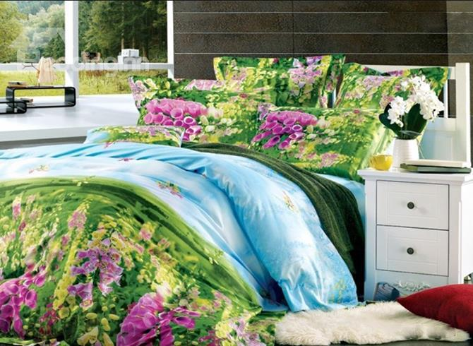 Magic Green Garden Pattern 4 Piece Cotton Duvet Cover Sets