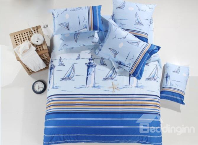 Sky Blue Sailing Boat Ship And Lighthouse Print Cotton 4-Piece Duvet Cover Sets