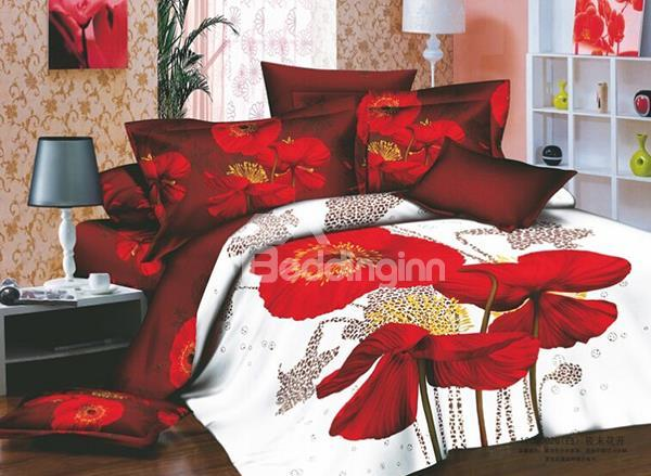 Seductive Red Flowers Active Printing 4 Piece Cotton Bedding Sets 10489906)