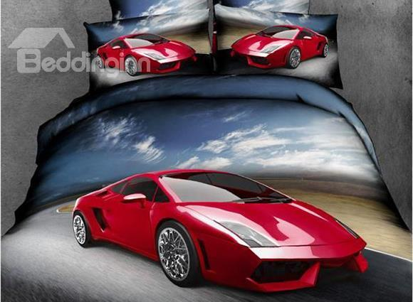 New Arrival Beautiful Red Racing Car Print 4 Piece Bedding Sets