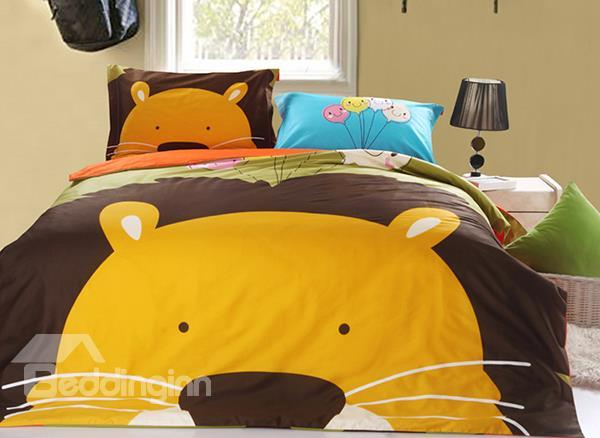 Pure Cotton Smart Lion King Print 3-Piece Kids Duvet Cover Sets