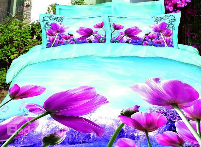 Splendid Realistic Purple Flower Print Mint Color 4 Piece Duvet Cover/Bedding Sets