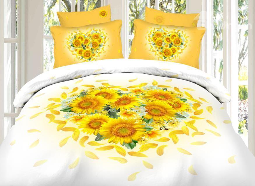 Heart Shape Sunflower Print 4-Piece Cotton Duvet Cover Sets