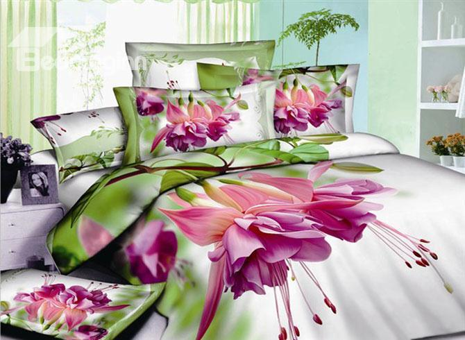 Debonaire 4 Piece Cotton Bedding Sets With Pink Flowers Green Leaves 10489310)