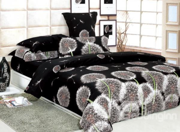 Charisma Brown Dandelion Flying 4 Piece Printed Bedding Set 10489825)