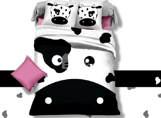 Black And White Cow Face Print 4-Piece Cotton Duvet Cover Sets