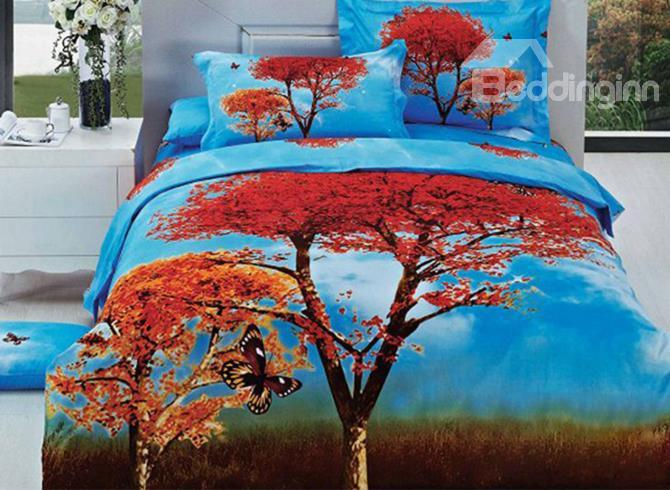 Red Tree And Butterfly Print 4-Piece 3d Duvet Cover Sets