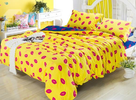 New Arrival Low Price Pure Cotton Kisses Pattern Duvet Cover Sets