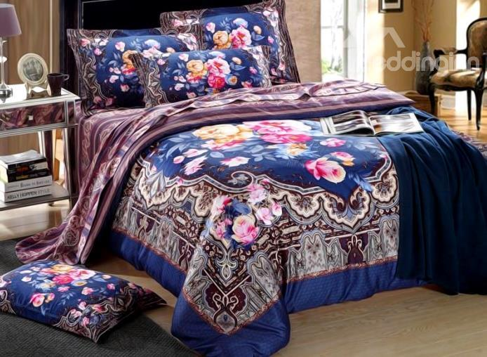 Court Style Flower Print 4-Piece Cotton Duvet Cover Sets