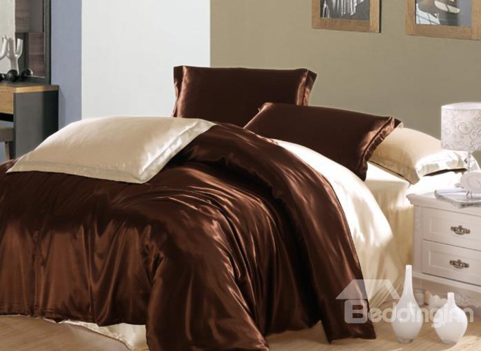 Romantic Chocolate And Beige 4-Piece Cellosilk Duvet Cover Sets
