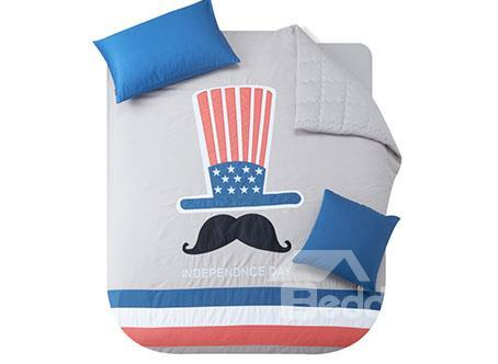 New Arrival Concise Design Mustache Print 4-Piece Duvet Cover Sets