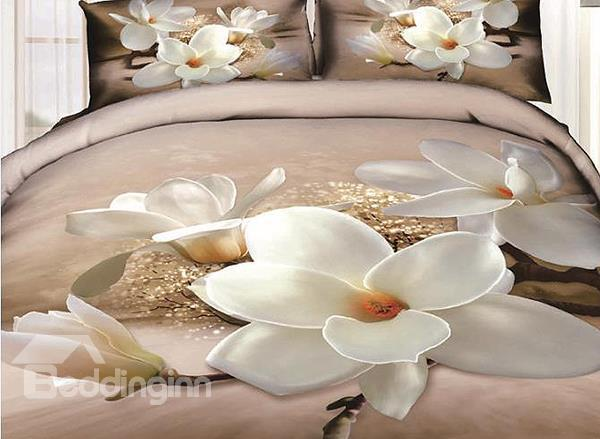 New Arrival 100%Cotton Blooming Creamy White Flowers 4 Piece Bedding Sets/Duvet Cover Sets