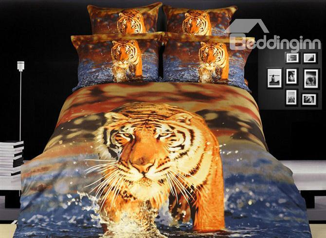 Powerful Tiger Walking In The Water Printed 4 Piece Cotton Bedding Sets 10489969)