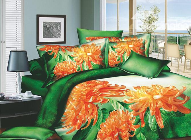 King Size Smashing Flowers Printed 4 Piece Cotton Duvet Cover Sets 10486326)