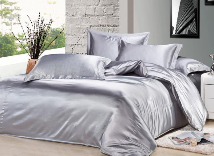 Luxury Silver Gray 4-Piece Silk Duvet Cover Sets