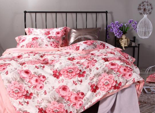 Pink Flower Print Satin Jacquard 4-Piece Duvet Cover Sets