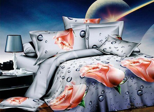 Romantic Rose And Water Drops Print 4-Piece Polyester Duvet Cover Sets