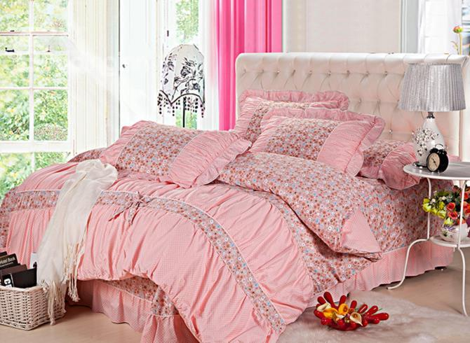 New Arrival Pastoral Floral With Lace Pink 4 Piece Bedding Sets