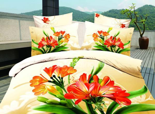 High Quality Bright Yellow Stone With Flowers 4 Pieces Bedding Sets