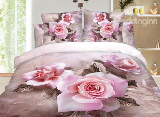 Very Beautiful Pink Flowers Print 3d Duvet Cover Sets