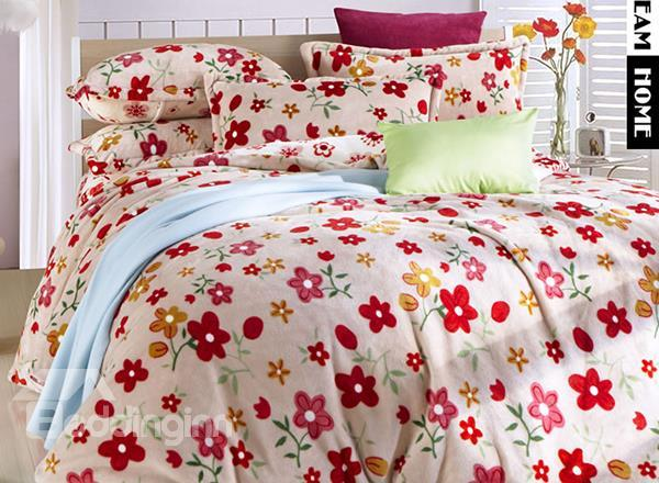 Pretty Pink Floral Print 4-Piece Soft Coral Fleece Duvet Cover Sets