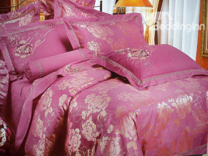 Exquisite Aubergine Jacquard Beautiful Peony Drill 4 Piece Bedding Sets 10490126)