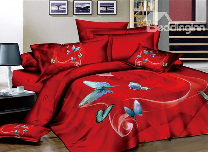 Sexy Red 4 Piece Cotton Bedding Sets With Butterflies 10489311)