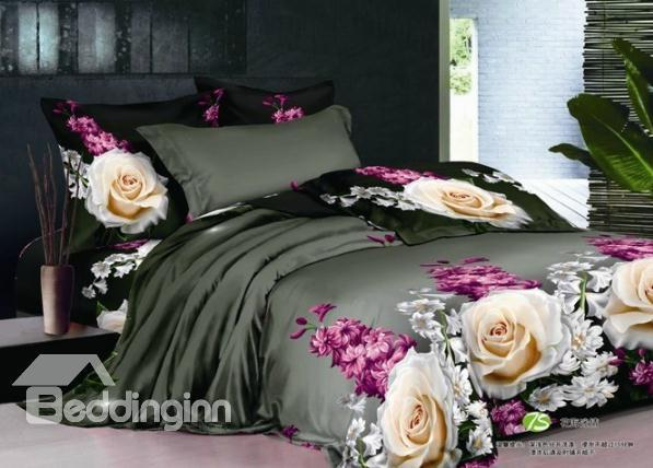 100%Cotton Painting Flower Grey Active Printed Duvet Cover Bedding Set