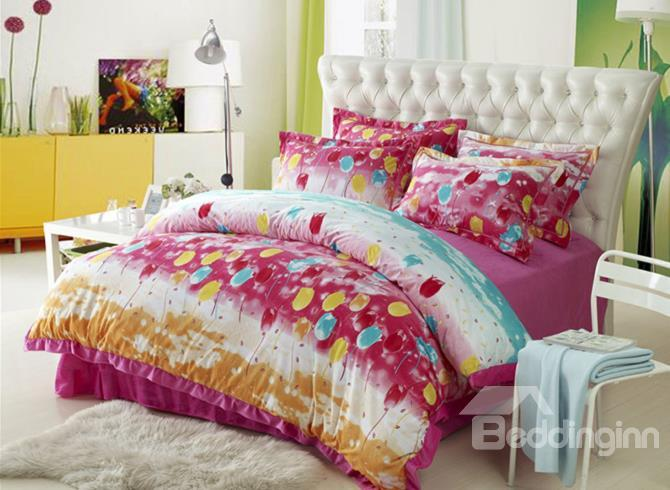New Arrival Colorful Tulip Flowers Print Sandedcloth Material 4 Piece Bedding Sets