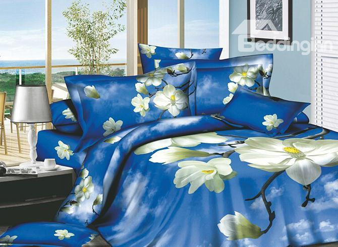 Wonderful Blue Sky And White Cloud 4 Piece Cotton Bedding Sets With Flowers Printing 10486324)