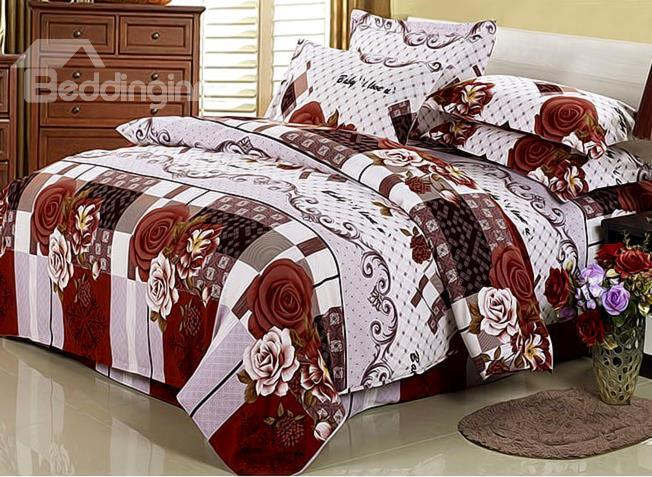 Chocolate Color Rose And Grapevine Print 4-Piece Cotton Duvet Cover Sets