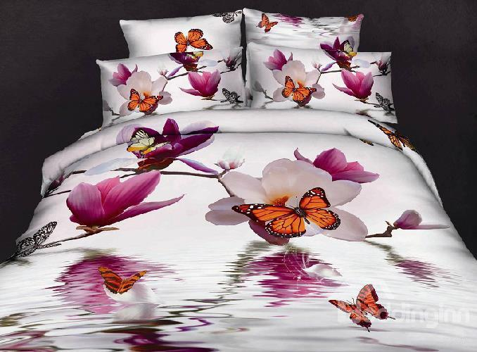 100%Cotton Butterfly Loving Gorgeous Flowers Reactive Print 4 Piece Bedding Sets Duvet Cover Sets