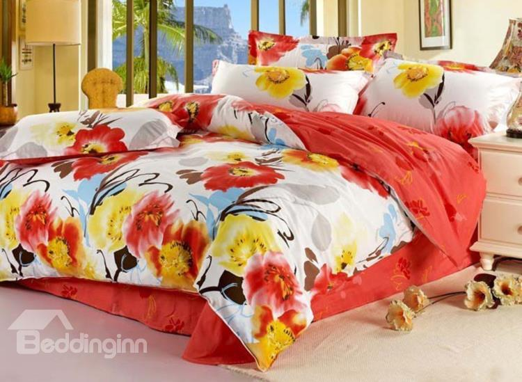 Gorgeous Chinese Style Flower Print 4 Piece Bedding Sets