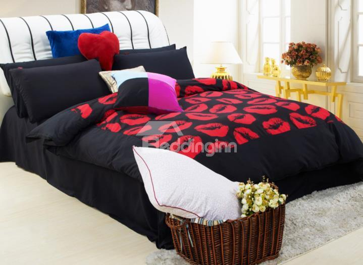 Top Quality Fantastic Red Lips Polyester Fibre 4-Piece Bedding Sets
