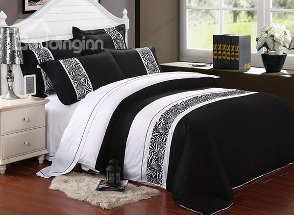 Modern Zebra Pattern 4-Piece Cotton Duvet Cover Sets