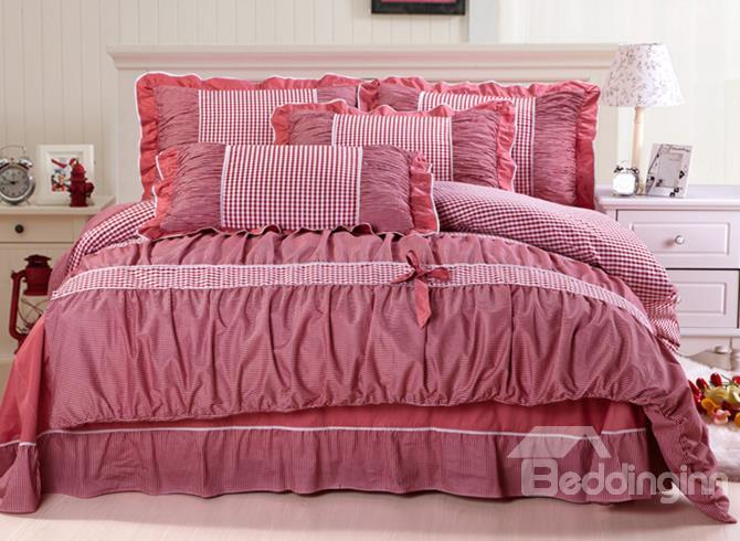 New Arrival Classic Checked Lace Edge Red 4 Piece Cotton Bedding Sets