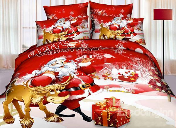 Hot Selling Christmas Gift Santa Claus 3d 4-Piece Bedding Sets