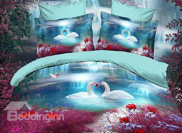 New Arrival Romantic White Swan With Flower Print 4 Piece Polyester Bedding Sets